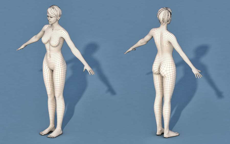 Base Character Male or female royalty-free 3d model - Preview no. 2