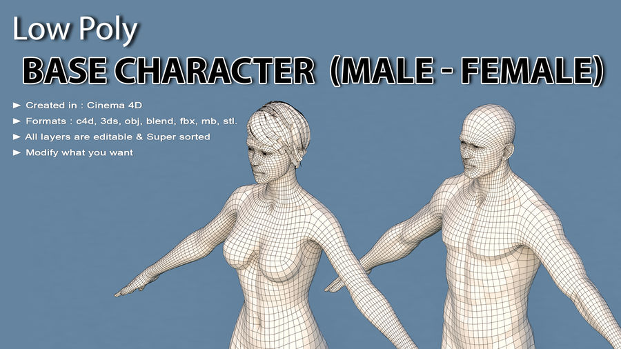 Base Character Male or female royalty-free 3d model - Preview no. 1