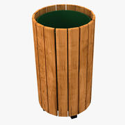 Wood Trash Can 3d model