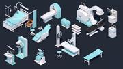 低ポリ病院セット-医療機器 3d model