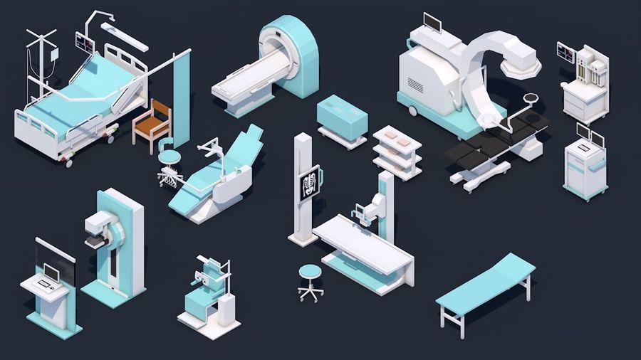 Zestaw szpitalny Low Poly - sprzęt medyczny royalty-free 3d model - Preview no. 1