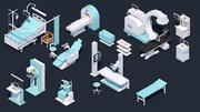 Low Poly Hospital Set - Medical Equipments 3d model