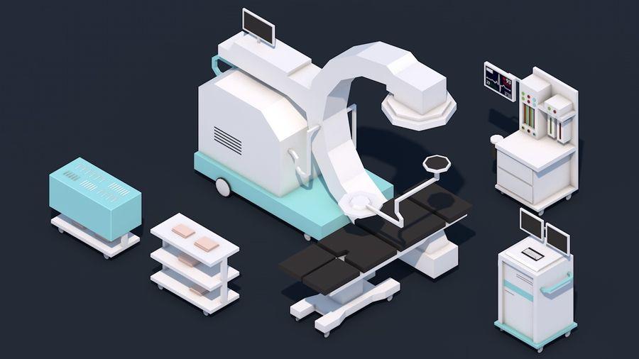 Zestaw szpitalny Low Poly - sprzęt medyczny royalty-free 3d model - Preview no. 10
