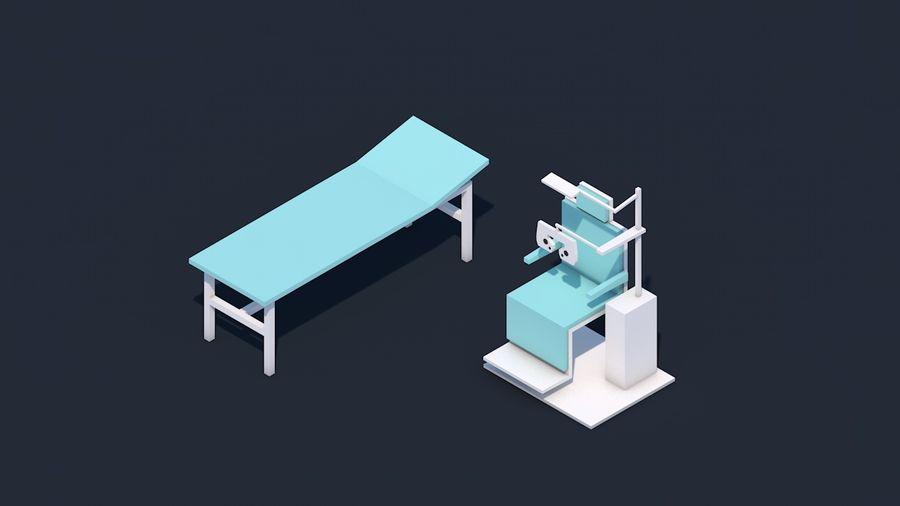 Zestaw szpitalny Low Poly - sprzęt medyczny royalty-free 3d model - Preview no. 14