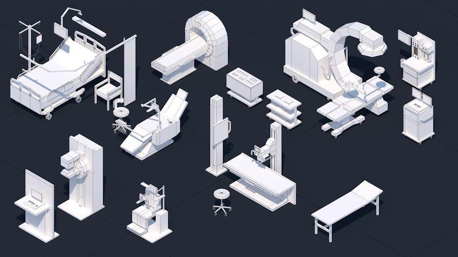 Zestaw szpitalny Low Poly - sprzęt medyczny royalty-free 3d model - Preview no. 16
