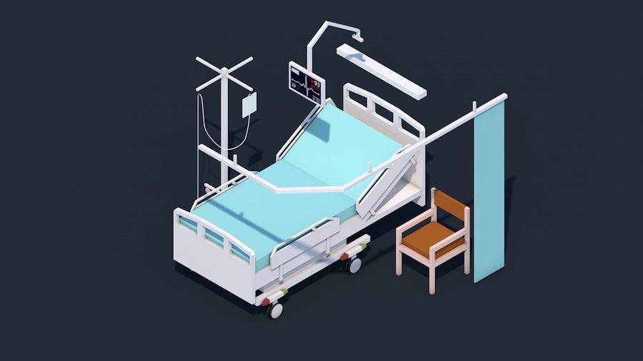Zestaw szpitalny Low Poly - sprzęt medyczny royalty-free 3d model - Preview no. 2