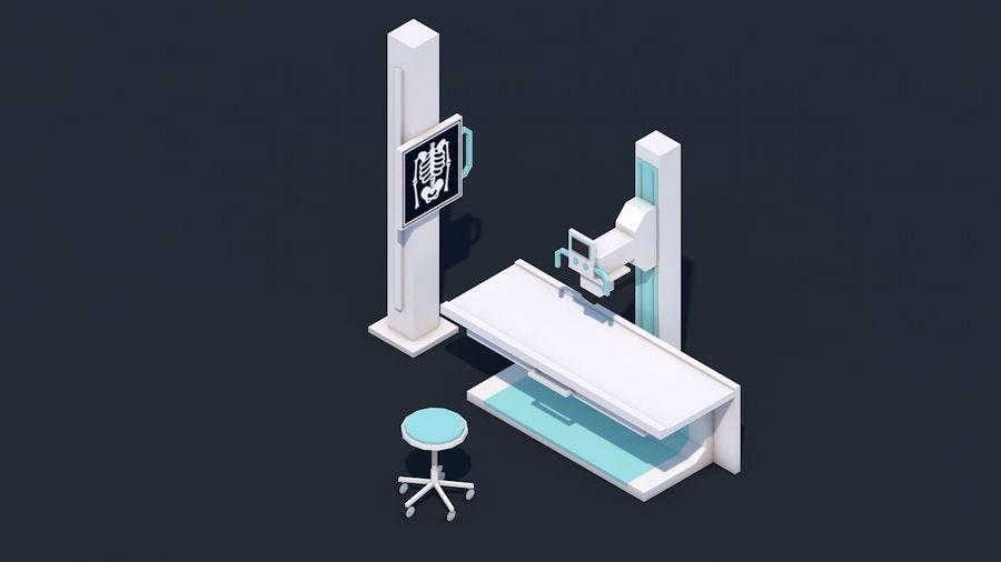 Zestaw szpitalny Low Poly - sprzęt medyczny royalty-free 3d model - Preview no. 4
