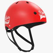 Cykel eller snowboardhjälm röd 3d model