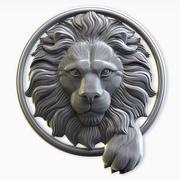 Lejonhuvud i en cirkel 3d model