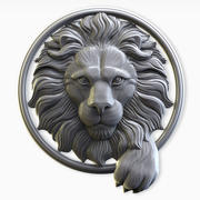Lion head in a circle 3d model