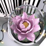 Rosa vattenliljevas med stränglampor 3d model