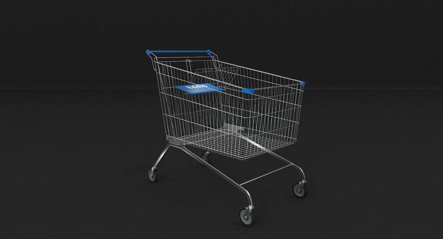 Supermarket Cart royalty-free 3d model - Preview no. 3