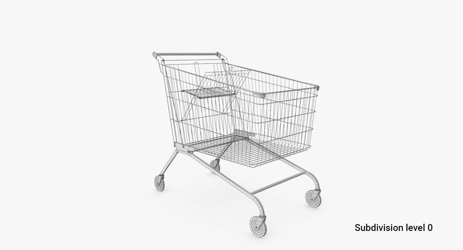 Supermarket Cart royalty-free 3d model - Preview no. 4
