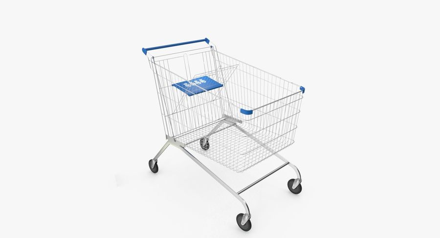 Supermarket Cart royalty-free 3d model - Preview no. 9