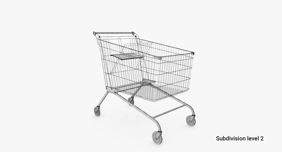 Supermarket Cart royalty-free 3d model - Preview no. 6