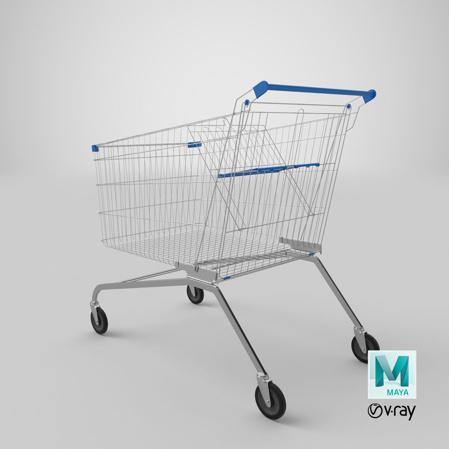 Supermarket Cart royalty-free 3d model - Preview no. 22