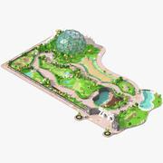 Låg poly zoo. 3d model