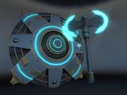 공상 과학 방패와 이중 도끼 3d model