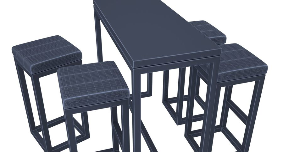 Barkruk en tafel royalty-free 3d model - Preview no. 9