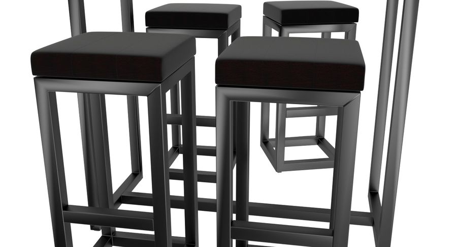 Barkruk en tafel royalty-free 3d model - Preview no. 2