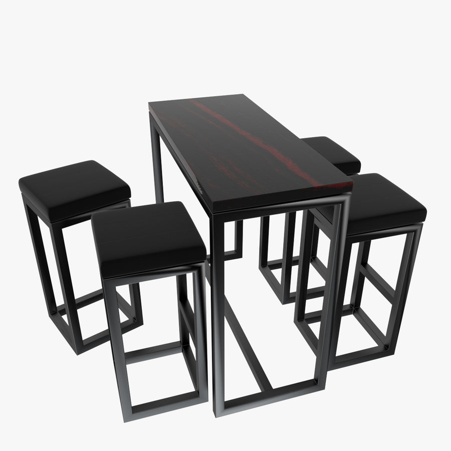 Barkruk en tafel royalty-free 3d model - Preview no. 1