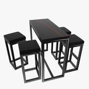 바 의자 및 테이블 3d model