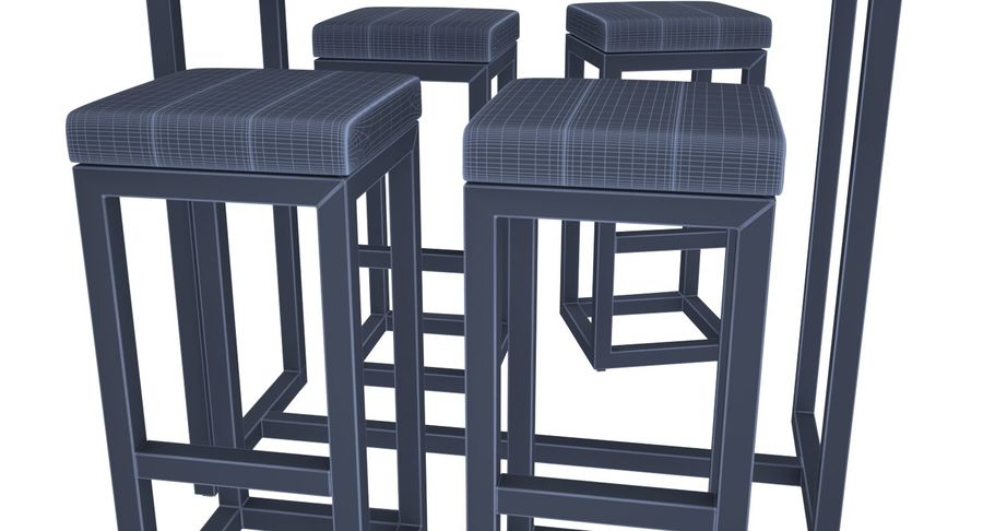Barkruk en tafel royalty-free 3d model - Preview no. 7