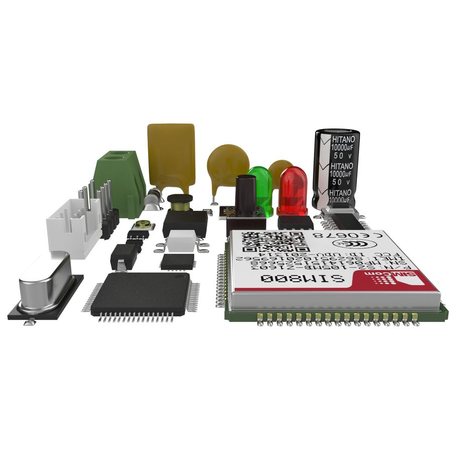 Electronic Components royalty-free 3d model - Preview no. 3