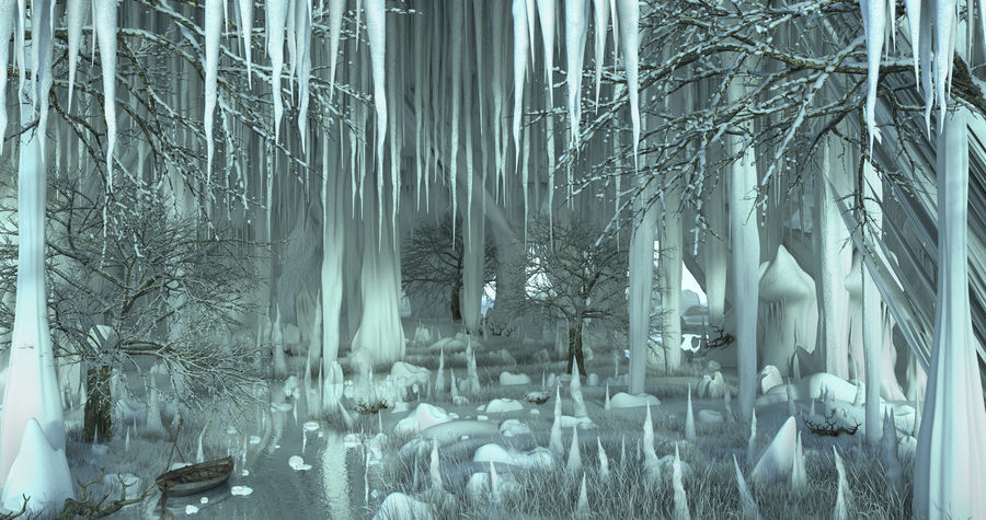 Winter Cave Environment royalty-free 3d model - Preview no. 3