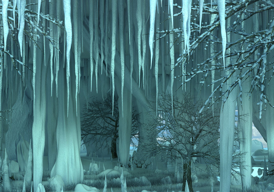 Winter Cave Environment royalty-free 3d model - Preview no. 7