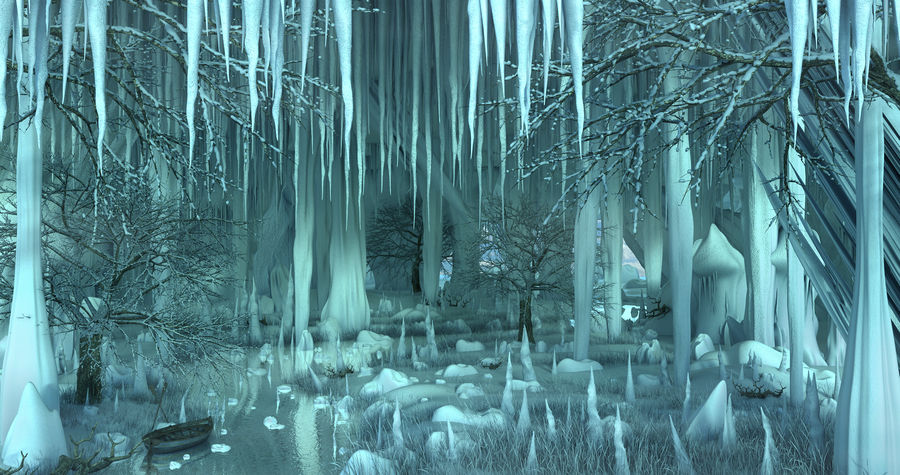 Winter Cave Environment royalty-free 3d model - Preview no. 1
