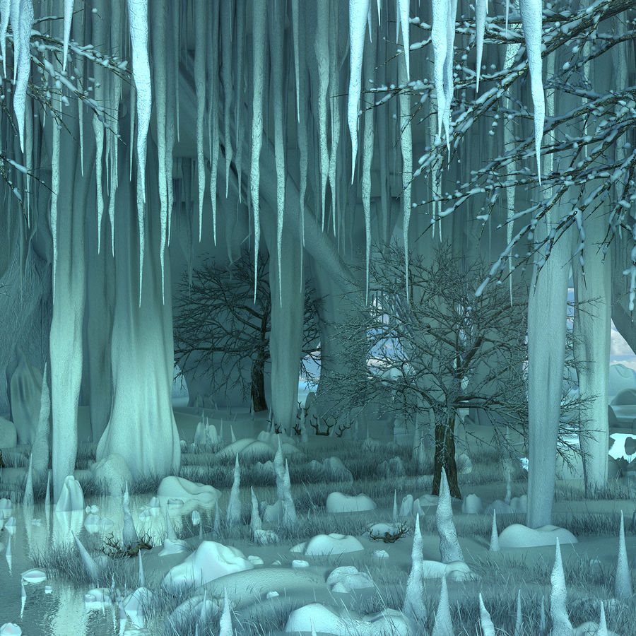 Winter Cave Environment royalty-free 3d model - Preview no. 10