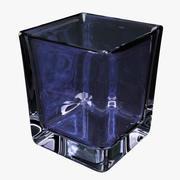 威士忌玻璃广场蓝色 3d model