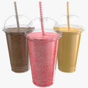 Milk Shake Three Flavors 3d model