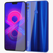 Honor 8X Blue 3d model