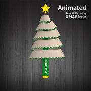 Рождественская елка Карандаш - Анимированная 3d model
