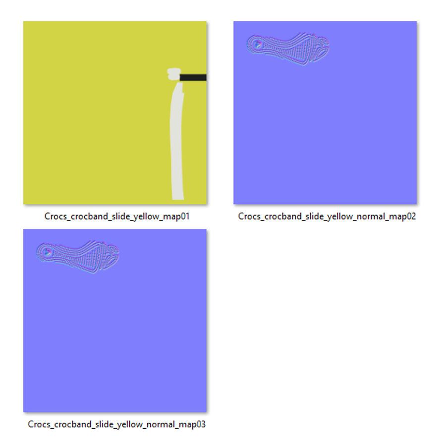 Crocs Crocband Slide Yellow royalty-free 3d model - Preview no. 17