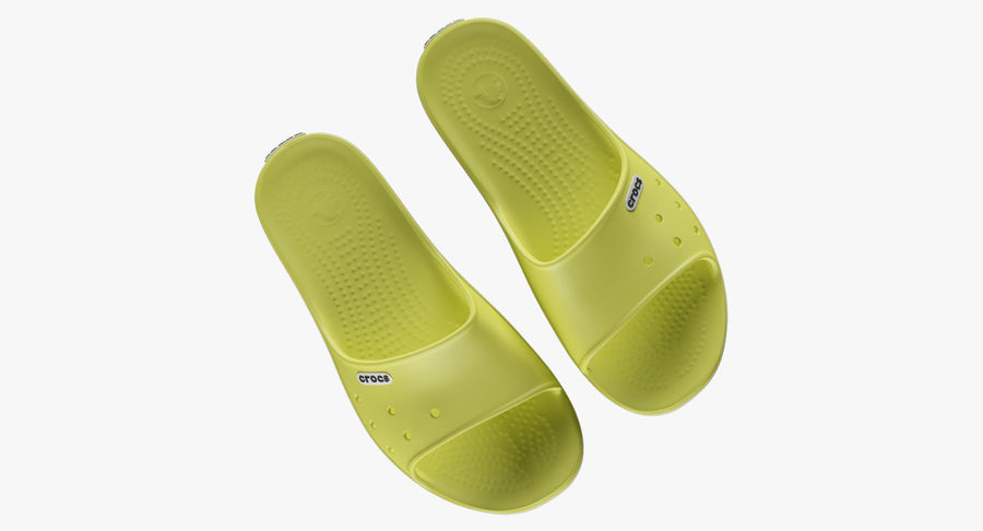 Crocs Crocband Slide Yellow royalty-free 3d model - Preview no. 5