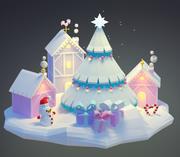 낮은 폴리 크리스마스 도시 눈 나무 3d model