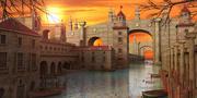 Fantasy Water Town 3d model