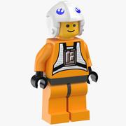 Lego Man Star Wars X Wing Rebel Pilot 3d model
