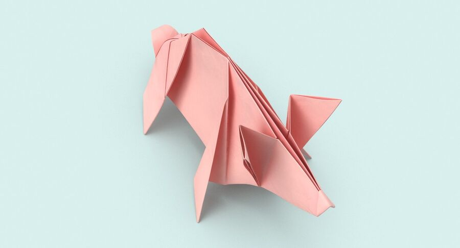 Origami Pig royalty-free 3d model - Preview no. 4