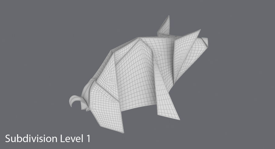 Origami Pig royalty-free 3d model - Preview no. 17