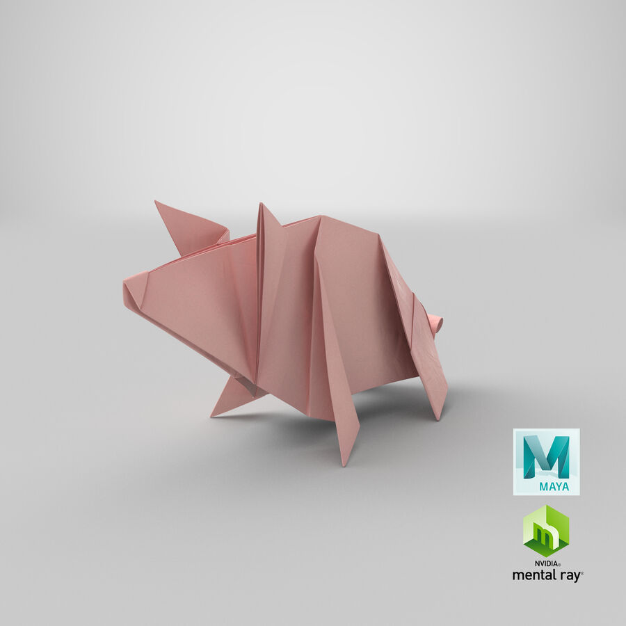 Origami Pig royalty-free 3d model - Preview no. 20