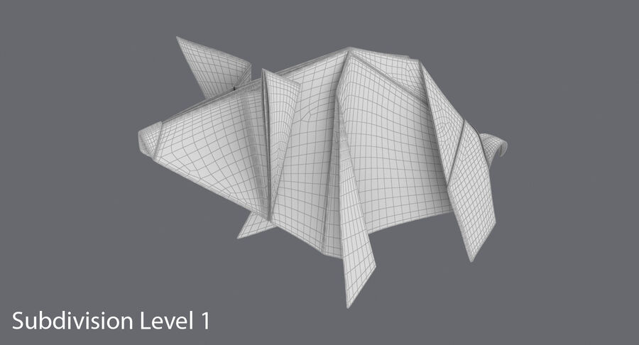 Origami Pig royalty-free 3d model - Preview no. 15