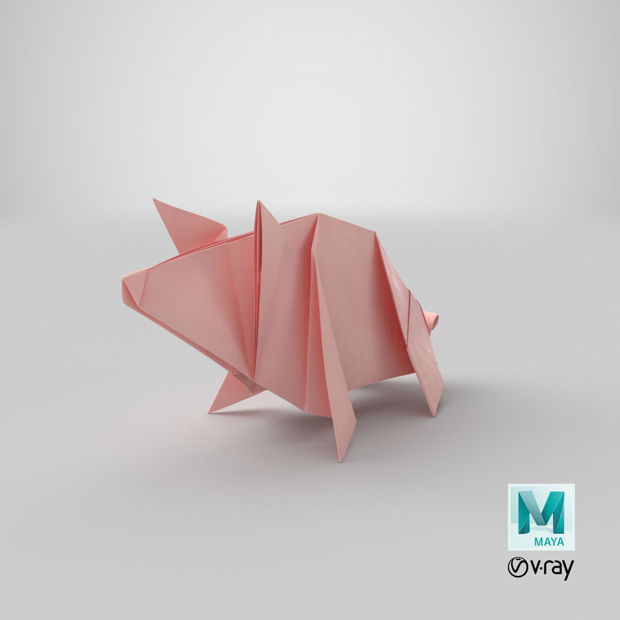 Origami Pig royalty-free 3d model - Preview no. 19