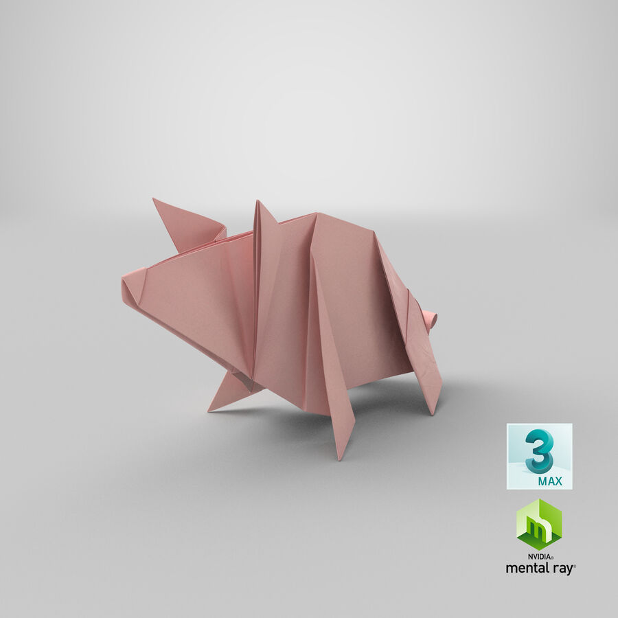 Origami Pig royalty-free 3d model - Preview no. 22