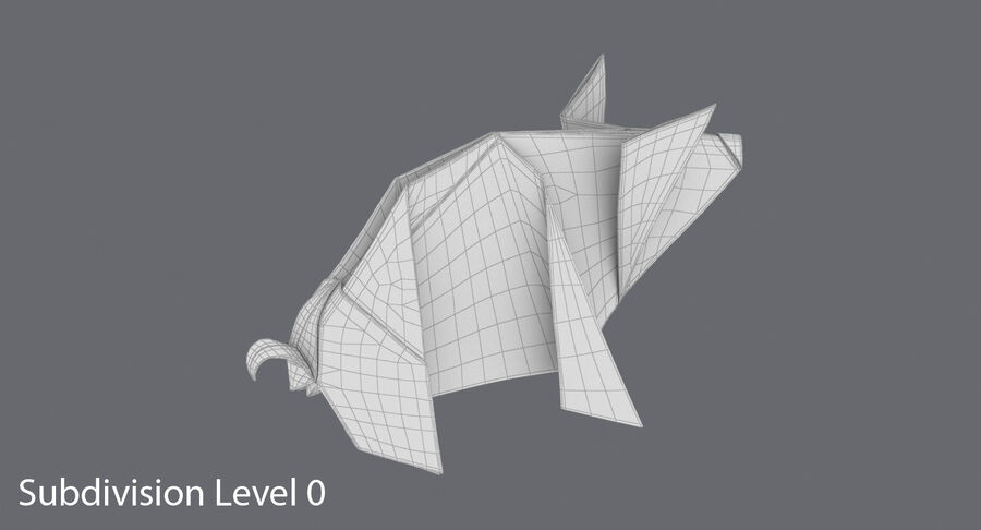 Origami Pig royalty-free 3d model - Preview no. 14
