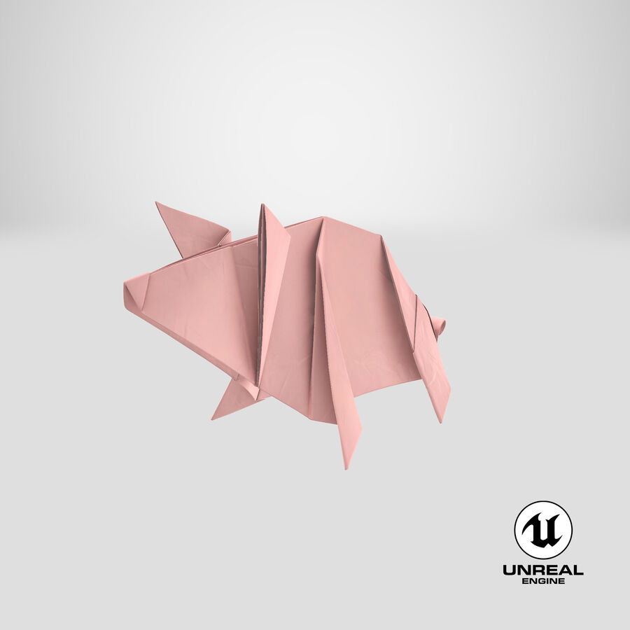 Origami Pig royalty-free 3d model - Preview no. 23