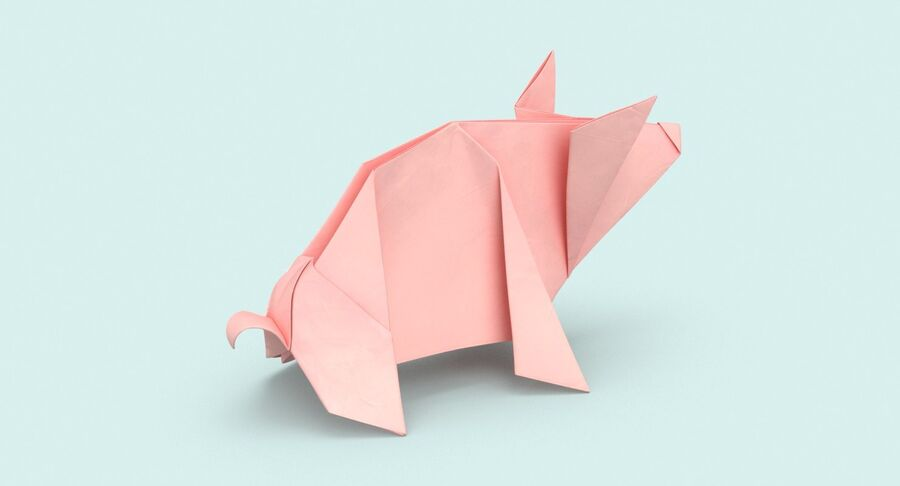Origami Pig royalty-free 3d model - Preview no. 6